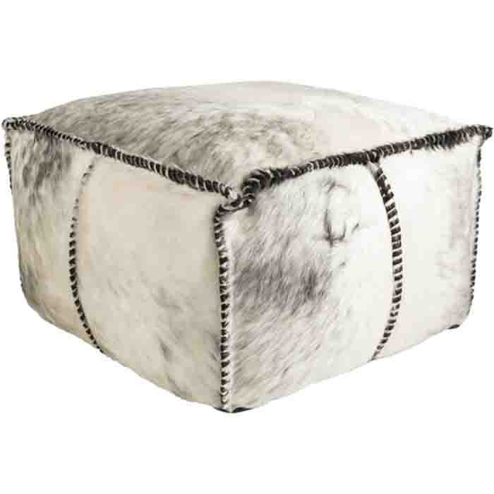 Ranger Cowhide Pouf ~ Medium Gray/White - Cece & Me - Home and Gifts
