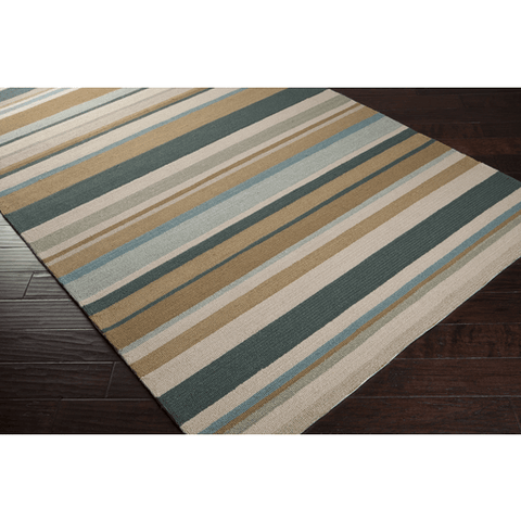 Image of Raffon Rug ~ Gray/Camel/Dark Green/Pale Blue - Cece & Me - Home and Gifts