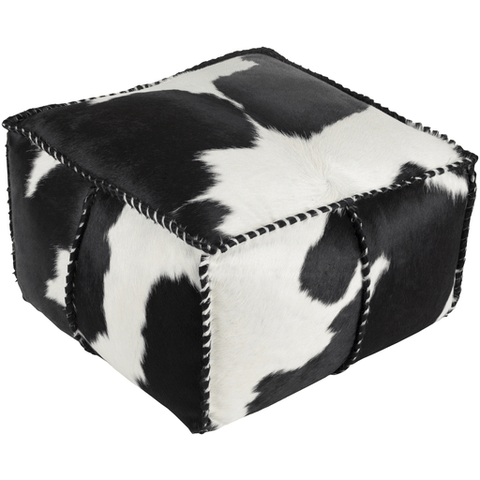 Image of Ranger Cowhide Pouf ~ Black/White - Cece & Me - Home and Gifts