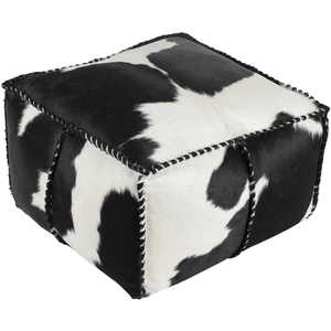 Ranger Cowhide Pouf ~ Black/White - Cece & Me - Home and Gifts