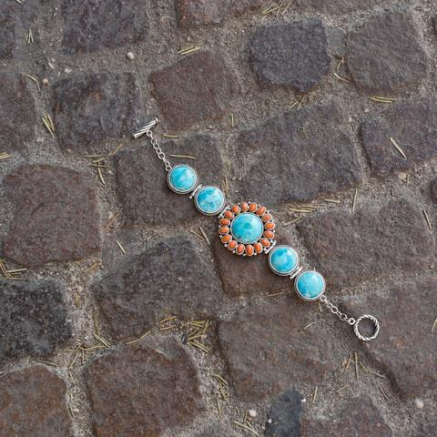 Image of Reconstituted Turquoise and Coral Sunburst Toggle Bracelet - Cece & Me - Home and Gifts