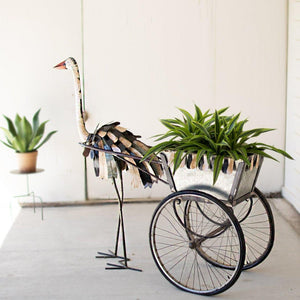 Recycled Iron Ostrich Cooler/Planter Cart - Cece & Me - Home and Gifts