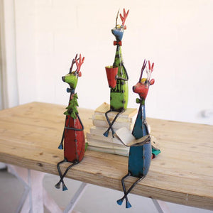 Recycled Metal Deer Shelf Sitters (Set of 3) - Cece & Me - Home and Gifts