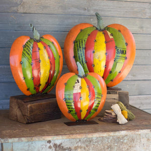 Recycled Metal Pumpkins On Stands (Set of 3) - Cece & Me - Home and Gifts