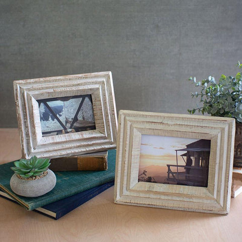 Recycled White Wash Wood Photo Frames (Set of 2) - Cece & Me - Home and Gifts