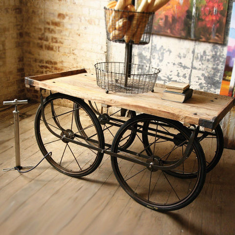 Recycled Wood And Iron Rolling Vendor Cart - Cece & Me - Home and Gifts