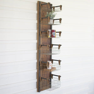 Recycled Wood & Metal Wall Rack With Six Wire Storage Baskets - Cece & Me - Home and Gifts