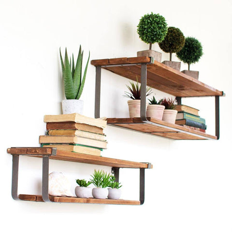 Image of Recycled Wood & Metal Shelves (Set of 2) - Cece & Me - Home and Gifts