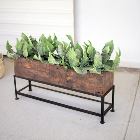 Recycled Wooden Planter With Iron Base - Cece & Me - Home and Gifts