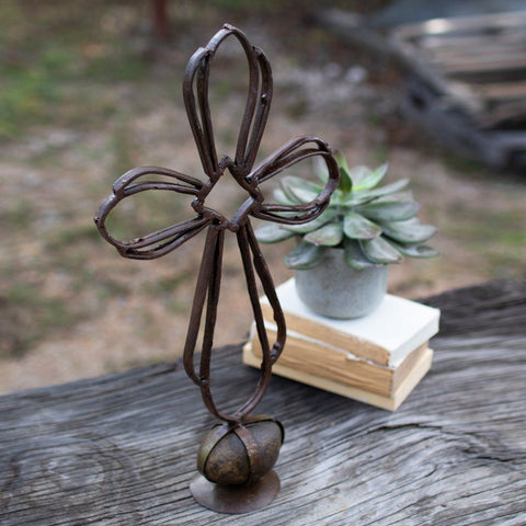 Recycled Metal Sister Clara's Cross On A Caged Rock Base - Cece & Me - Home and Gifts
