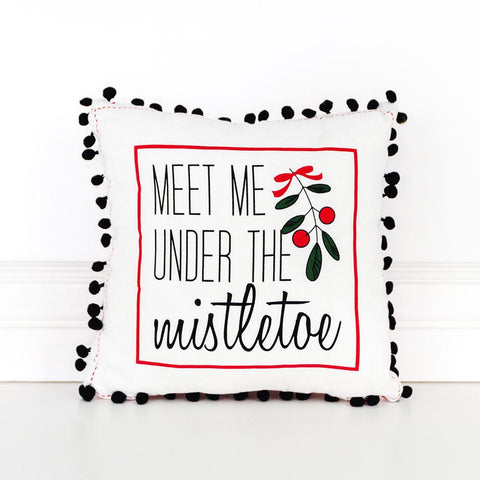 "Reversible Linen Pillow 12"" ~ Meet Me Under The Mistletoe - Cece & Me - Home and Gifts"