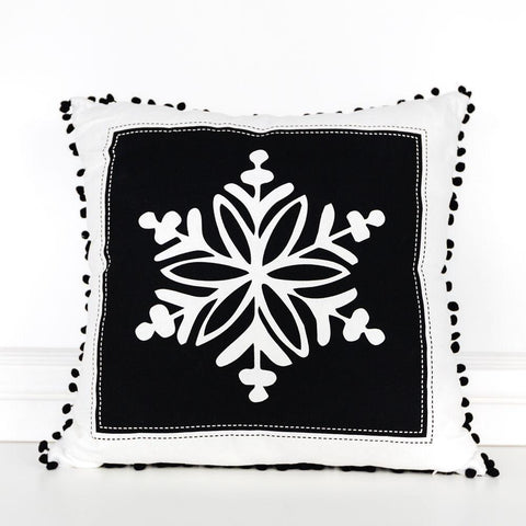 "Reversible Linen Pillow 20"" ~ Snowflake - Cece & Me - Home and Gifts"