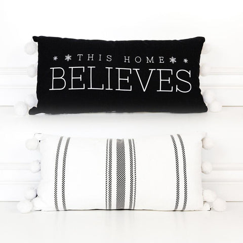 Holiday Reversible Linen Pillow ~ This Home Believes - Cece & Me - Home and Gifts