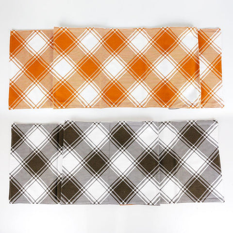 Image of Reversible Plaid Table Runner ~ Orange and Black - Cece & Me - Home and Gifts
