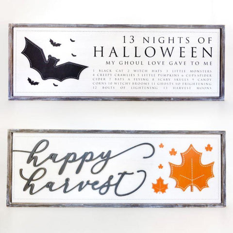 Image of Reversible Wood-framed Sign ~ Halloween/Harvest - Cece & Me - Home and Gifts