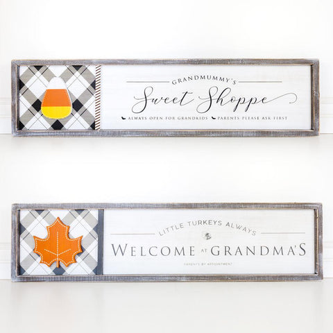 Reversible Wood-framed Sign ~ Grandmummy's/Welcome At Grandma's - Cece & Me - Home and Gifts