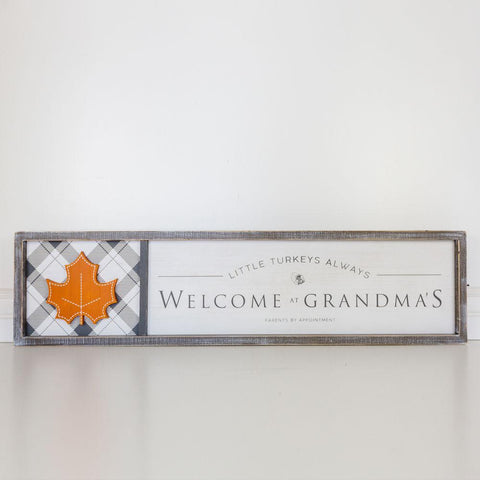 Image of Reversible Wood-framed Sign ~ Grandmummy's/Welcome At Grandma's - Cece & Me - Home and Gifts