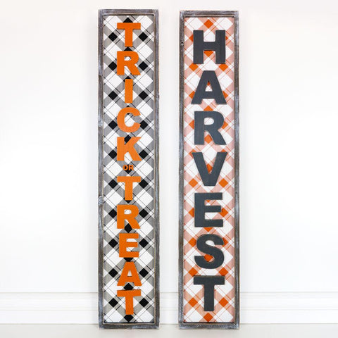 Image of Reversible Wood-framed Sign ~ Trick Or Treat/Harvest - Cece & Me - Home and Gifts