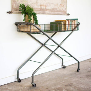 Rolling Metal Basket Console - Cece & Me - Home and Gifts