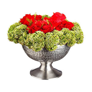 Everlasting Rose And Sedum in Aluminum Footed Bowl Red Green - Cece & Me - Home and Gifts