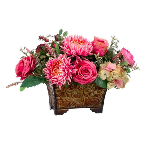 Rose/Mum/ Hydrangea in Metal Container ~ Rose & Cream - Cece & Me - Home and Gifts