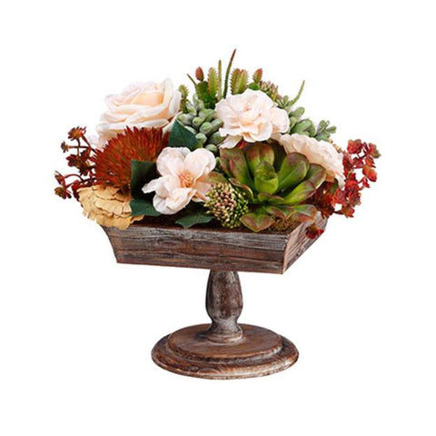 Rose/ Mushroom/Cactus/Sedum on Footed Wood Pot ~ Green & Burgundy - Cece & Me - Home and Gifts