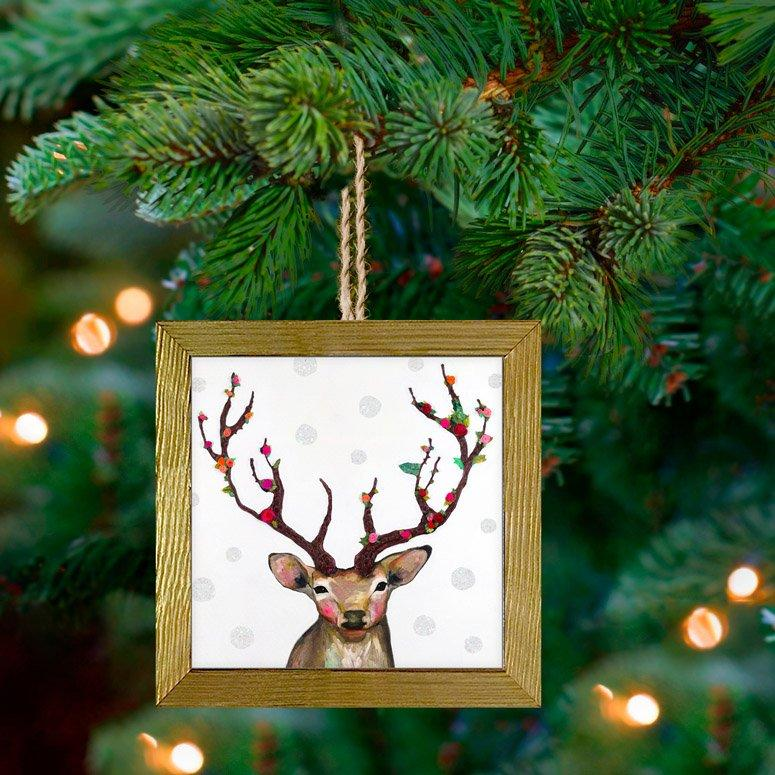 Rosy Buck ~ Embellished Wooden Framed Ornament