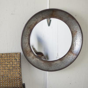 Round Metal Mirror ~ Natural Metal - Cece & Me - Home and Gifts