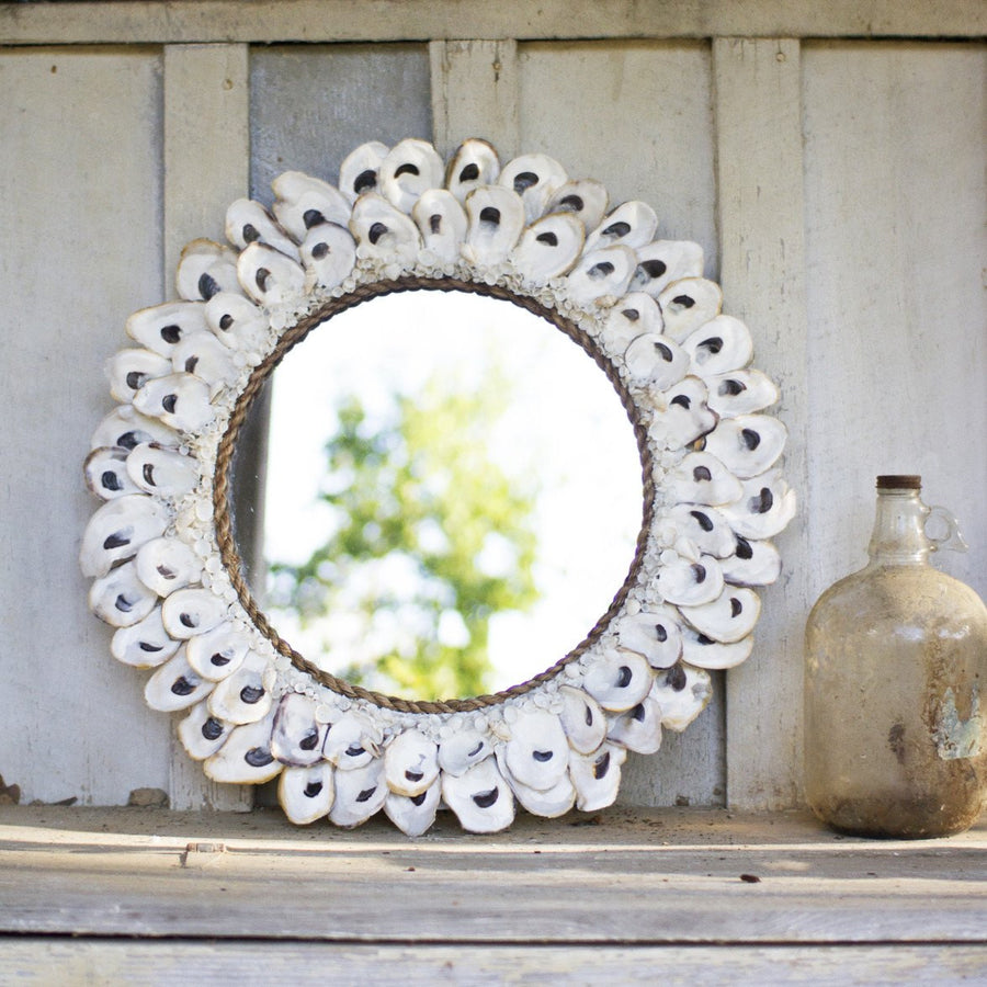 Round Oyster Shell Mirror ~ Large - Cece & Me - Home and Gifts