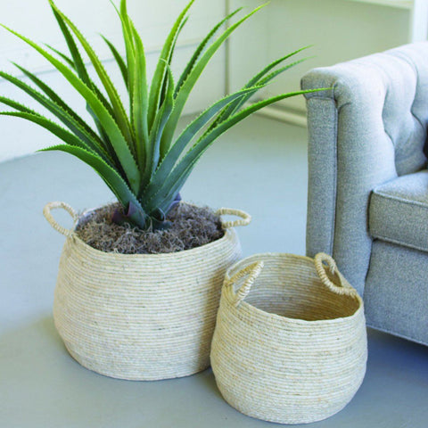 Round Seagrass Baskets With Handles - Cece & Me - Home and Gifts
