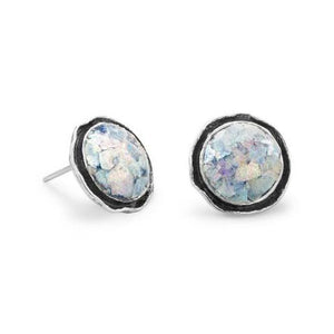 Round Oxidized Edge Roman Glass Earrings - Cece & Me - Home and Gifts