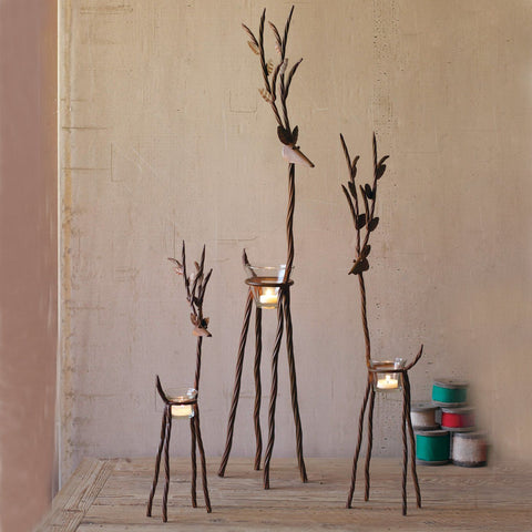 Rustic Iron Reindeer With Tealight Cups (Set of 3) - Cece & Me - Home and Gifts