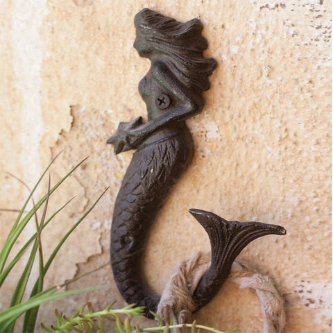 Rustic Mermaid Hook ~ Cast Iron - Cece & Me - Home and Gifts