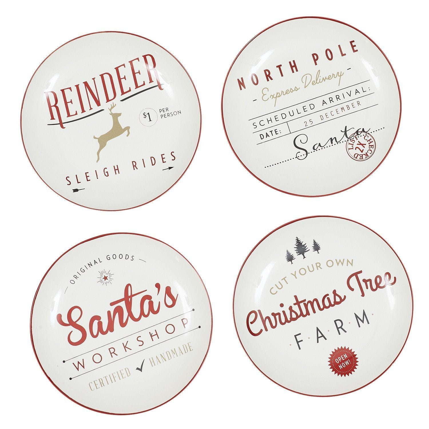 Santa's Workshop Porcelain Appetizer Plates (Set of 4) - Cece & Me - Home and Gifts