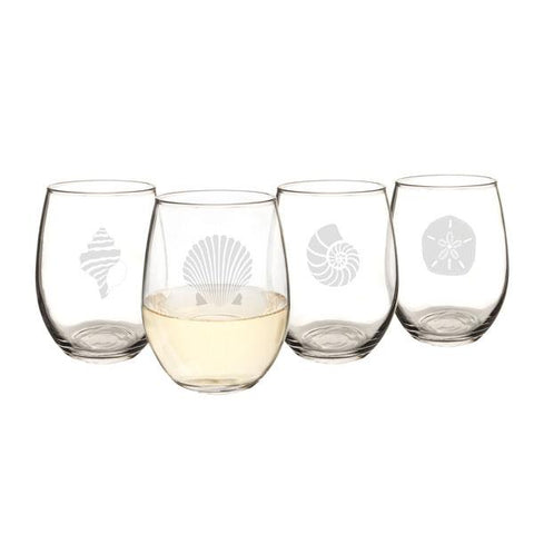 Image of Seashell Stemless Wine Glasses (Set of 4) - Cece & Me - Home and Gifts