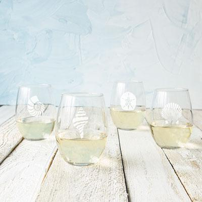 Seashell Stemless Wine Glasses (Set of 4) - Cece & Me - Home and Gifts
