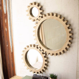 Wooden Gears Mirrors (Set of 3) - Cece & Me - Home and Gifts