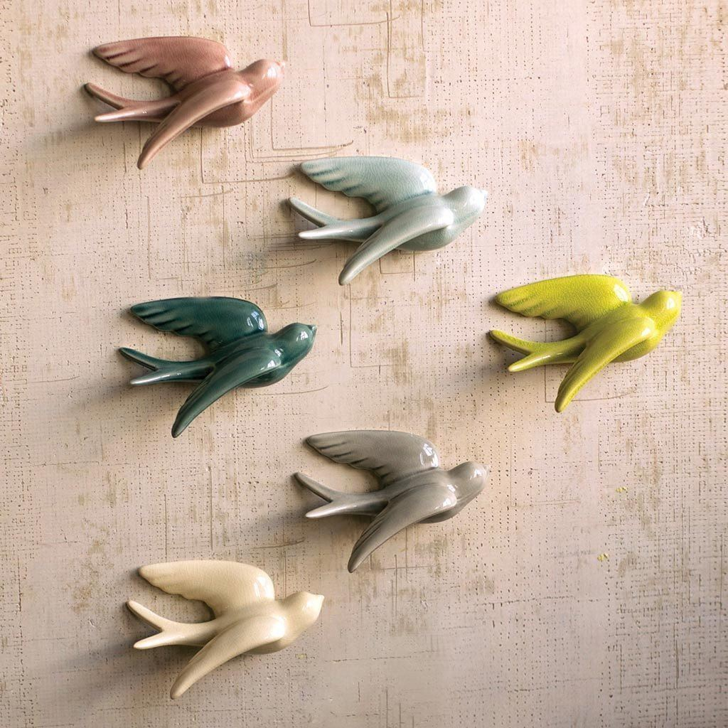 Colorful Ceramic Swallows (Set of 6) - Cece & Me - Home and Gifts