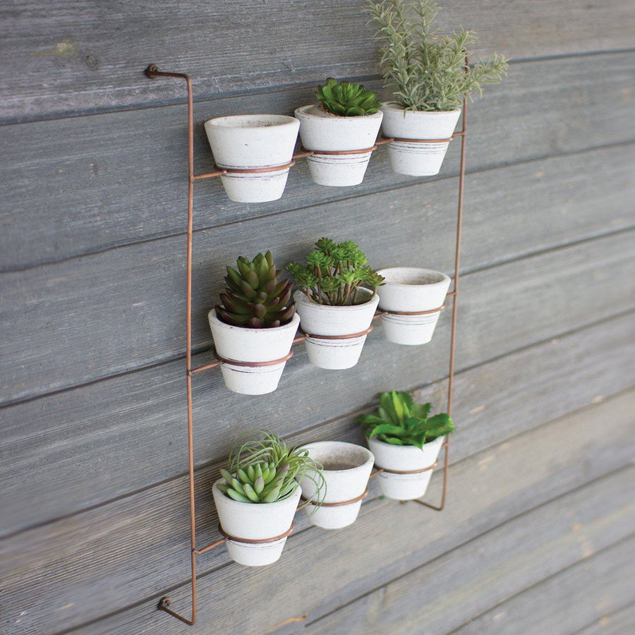 Set of 9 White Wash Clay Pots on Copper Finish Wall Rack - Cece & Me - Home and Gifts
