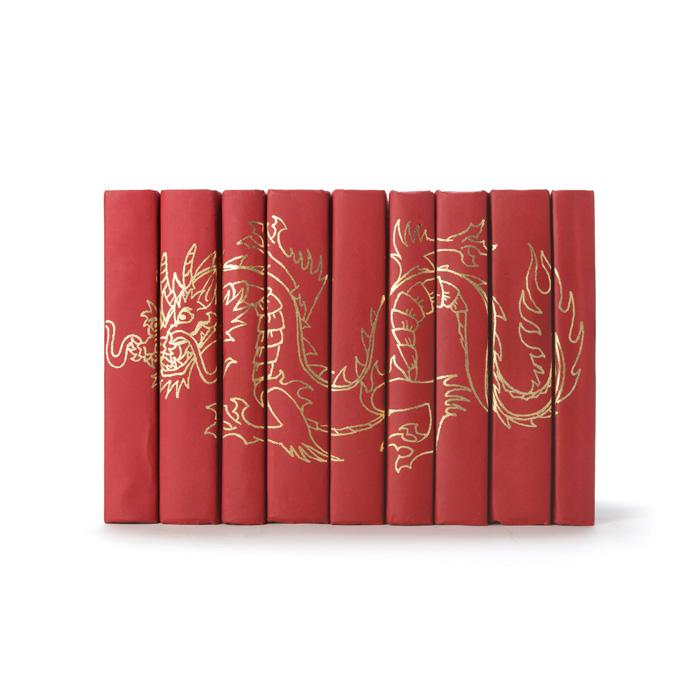 Set of Nine Gold Dragon On Red Books