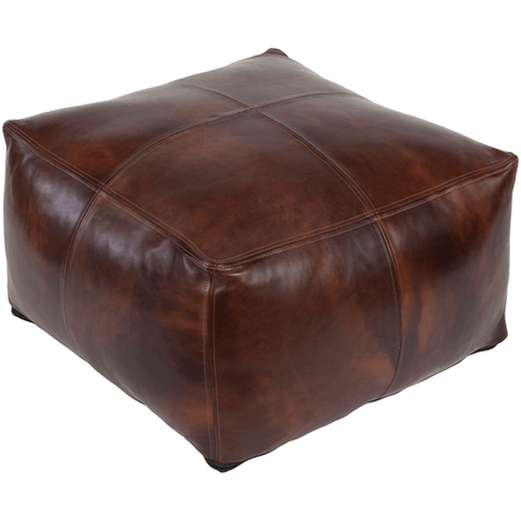 Image of Sheffield Leather Pouf ~ Dark Brown - Cece & Me - Home and Gifts