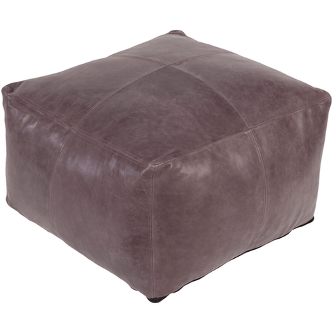 Sheffield Leather Pouf ~ Taupe - Cece & Me - Home and Gifts