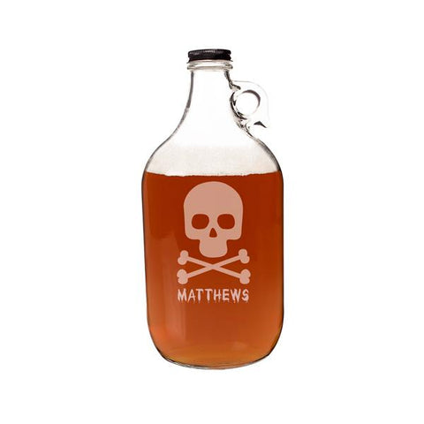 Personalized Skull + Crossbones 64 oz. Craft Beer Growler - Cece & Me - Home and Gifts