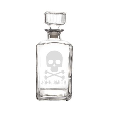 Personalized Skull + Crossbones 34 oz. Glass Decanter - Cece & Me - Home and Gifts
