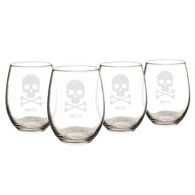 Personalized Skull + Crossbones Stemless Wine Glasses (Set of 4) - Cece & Me - Home and Gifts