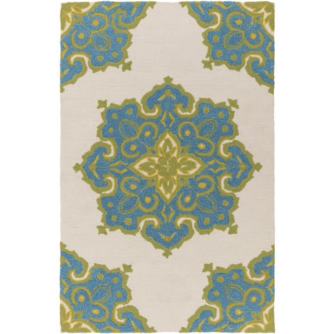 Image of Skye Rug ~ Bright Blue/Aqua/Grass Green/Cream - Cece & Me - Home and Gifts
