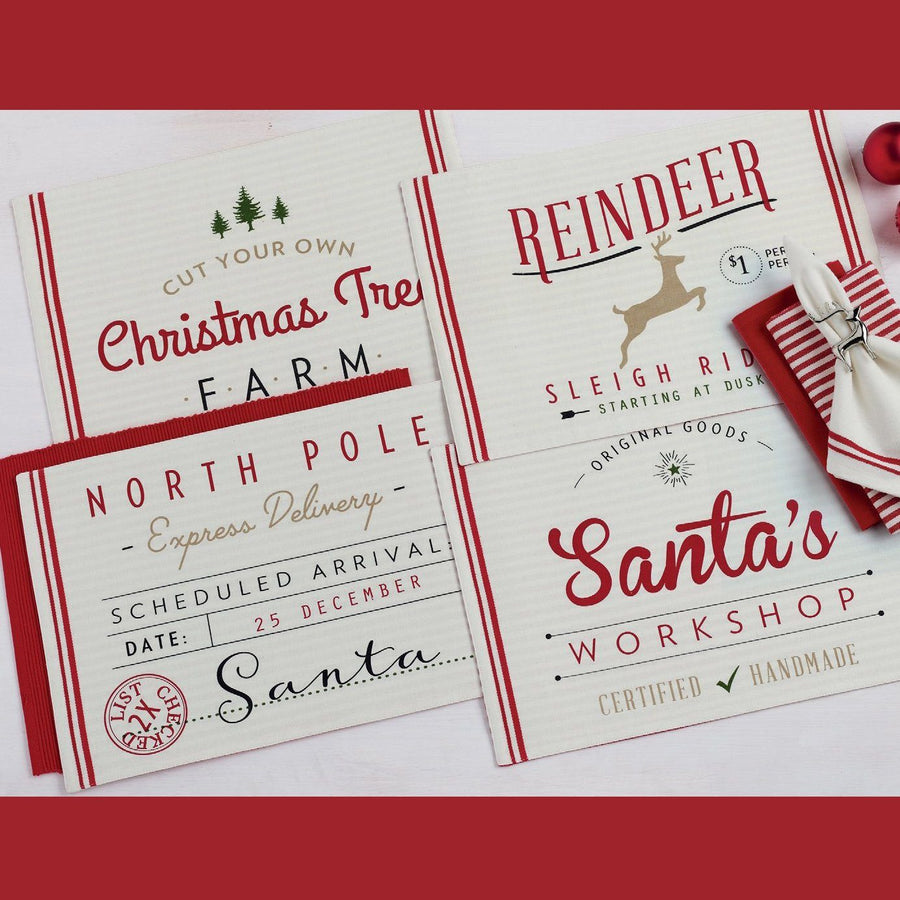 Santa's Workshop Printed Placemats (Set of 4) - Cece & Me - Home and Gifts