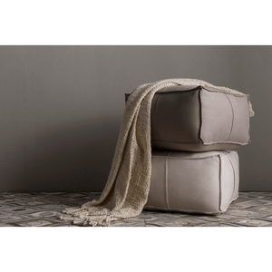Solid Linen Pouf ~ Ivory