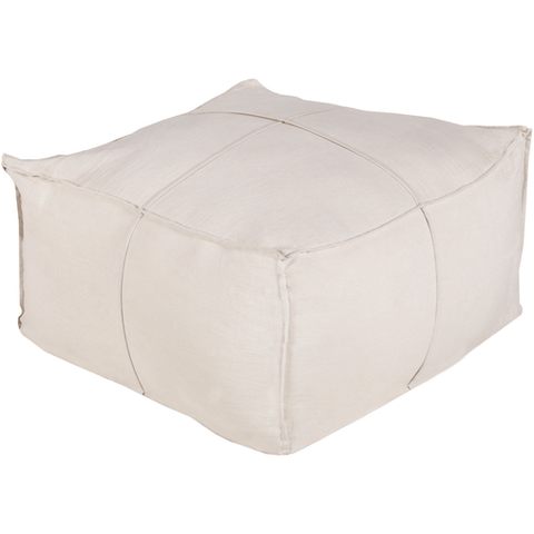 Image of Solid Linen Pouf ~ Ivory - Cece & Me - Home and Gifts