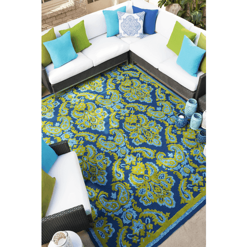 Image of Spiby Rug ~ Dark Blue/Grass Green/Pale Blue/Lime - Cece & Me - Home and Gifts